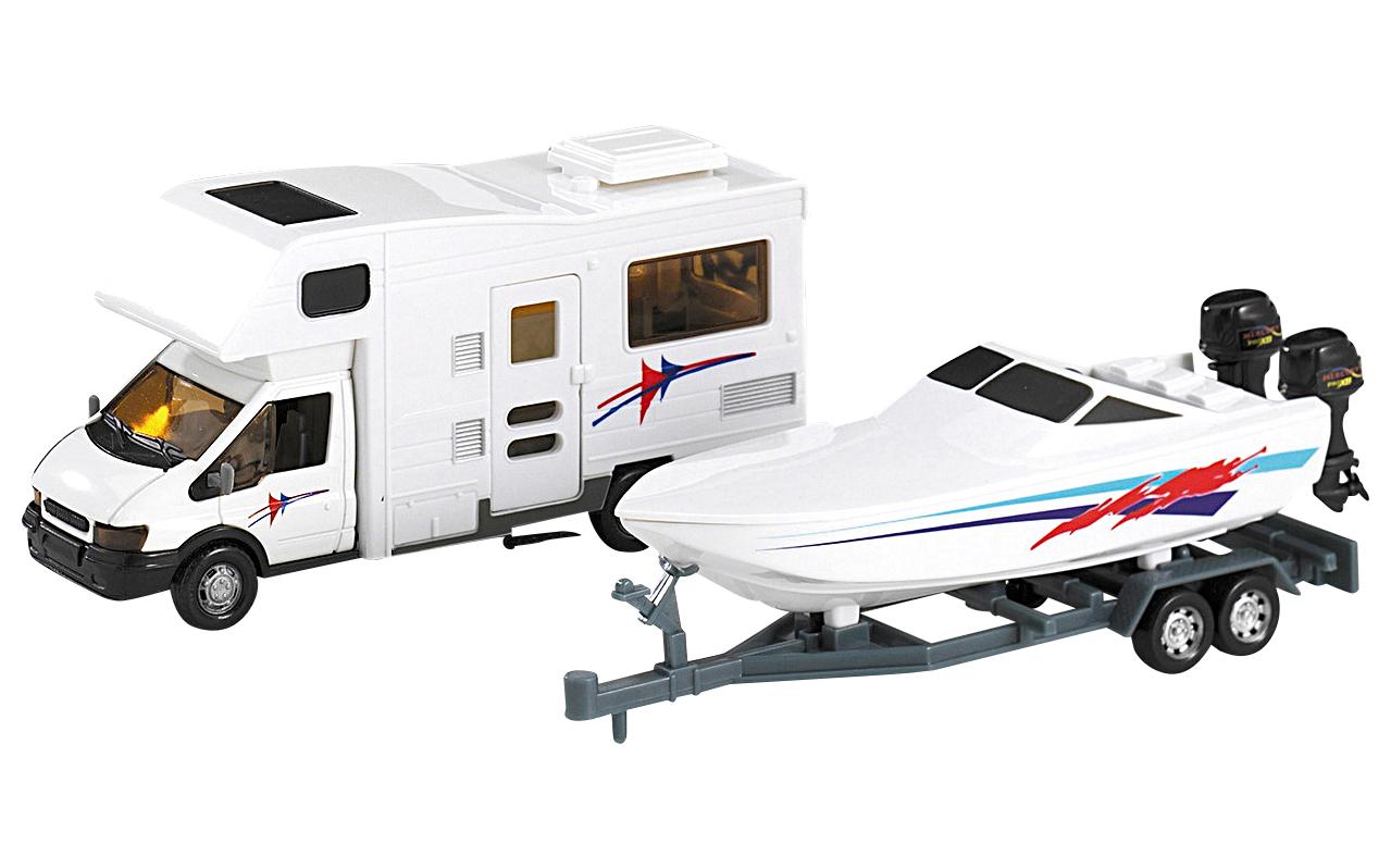 Motorhome-Wohnmobil mit Bootsanhänger