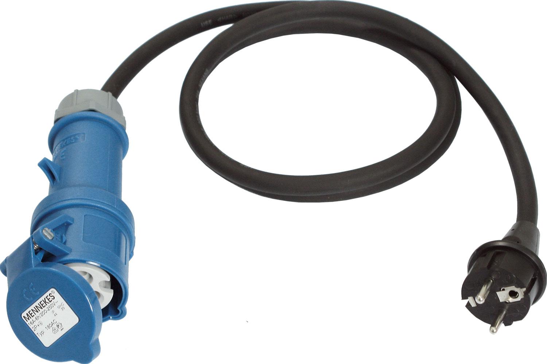 CEE-Adapterleitung Schuko-Stecker auf CEE-Kupplung 3-polig