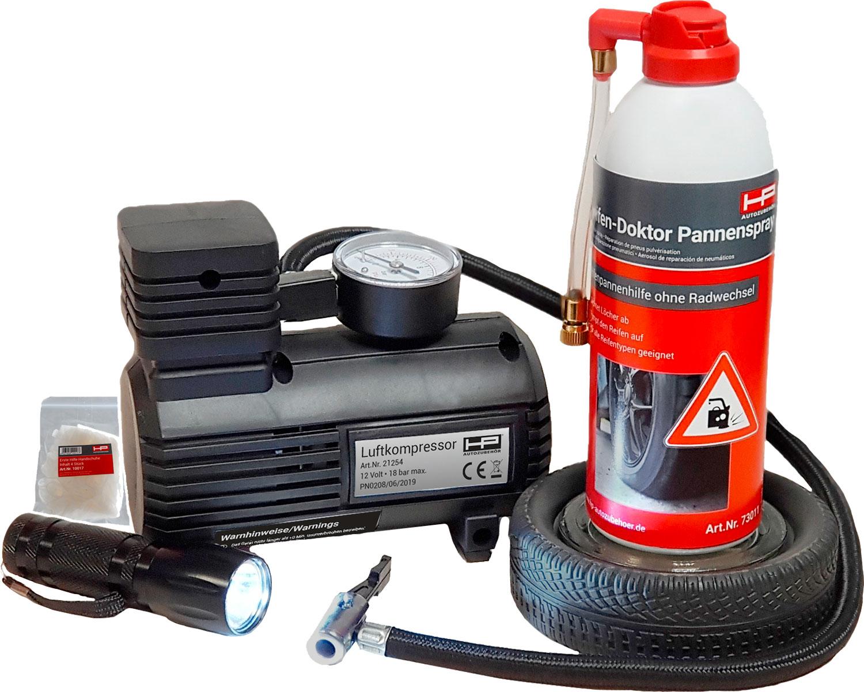 HP Reifenpannenset mit Luftkompressor und Dichtungsspray