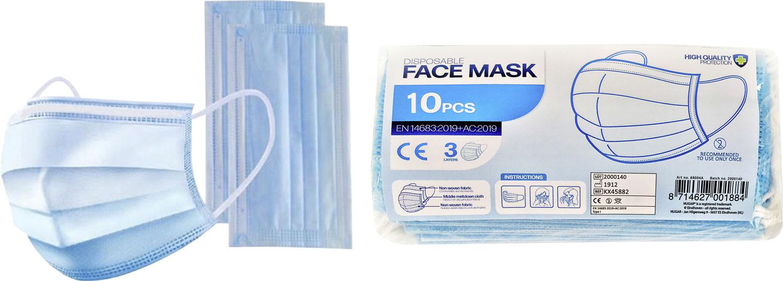 Mund-und-Nasen-Einwegmasken 3-lagig 10 Stück