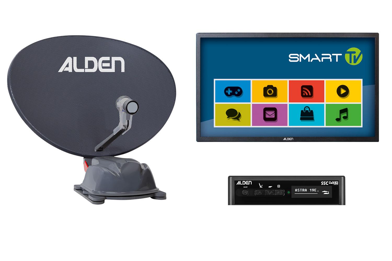 Alden AS2 80 HD Platinium vollautomatische Sat-Anlagge inkl. S.S.C. HD-Steuermodul  und Smartwide LED TV 24