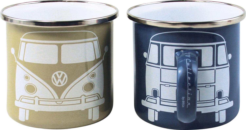 VW Collection T1 Bus Emaille Tassen Set 2 Stück Blau / Grau