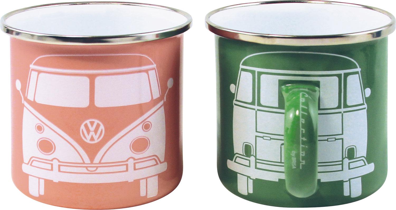 VW Collection T1 Bus Emaille Tassen Set 2 Stück Grün / Rosa